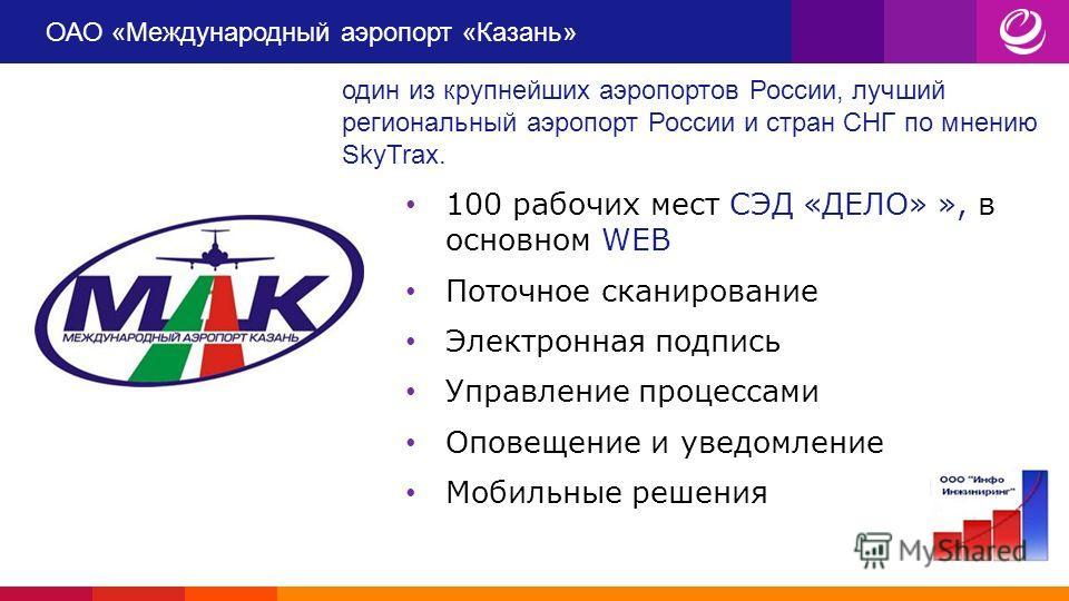 ОАО «Международный аэропорт «Казань» Международный аэропорт «Казань» - один из крупнейших аэропортов России, лучший региональный аэропорт России и стран СНГ по мнению SkyTrax. Маршрутная карта насчитывает более 55 региональных и международных рейсов.