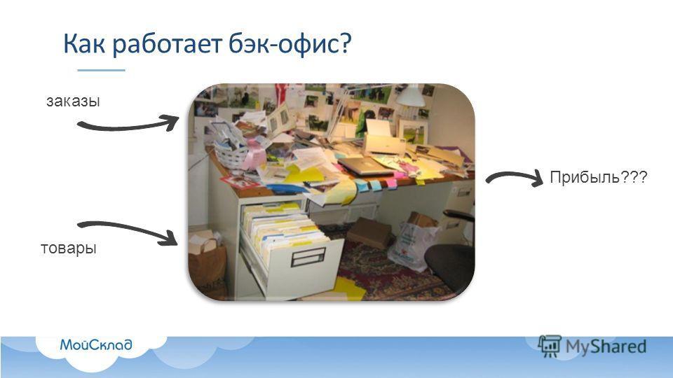 Как работает бэк-офис? заказы товары Прибыль???