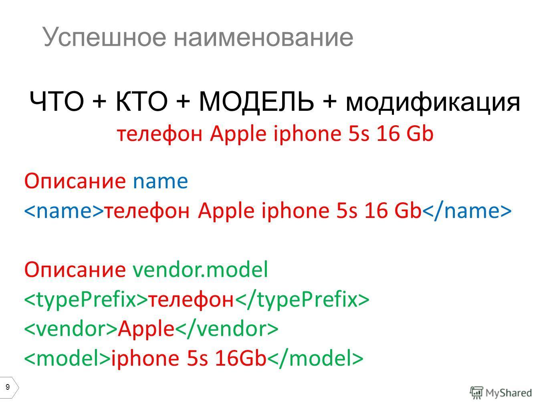 9 Успешное наименование ЧТО + КТО + МОДЕЛЬ + модификация телефон Apple iphone 5s 16 Gb Описание name телефон Apple iphone 5s 16 Gb Описание vendor.model телефон Apple iphone 5s 16Gb
