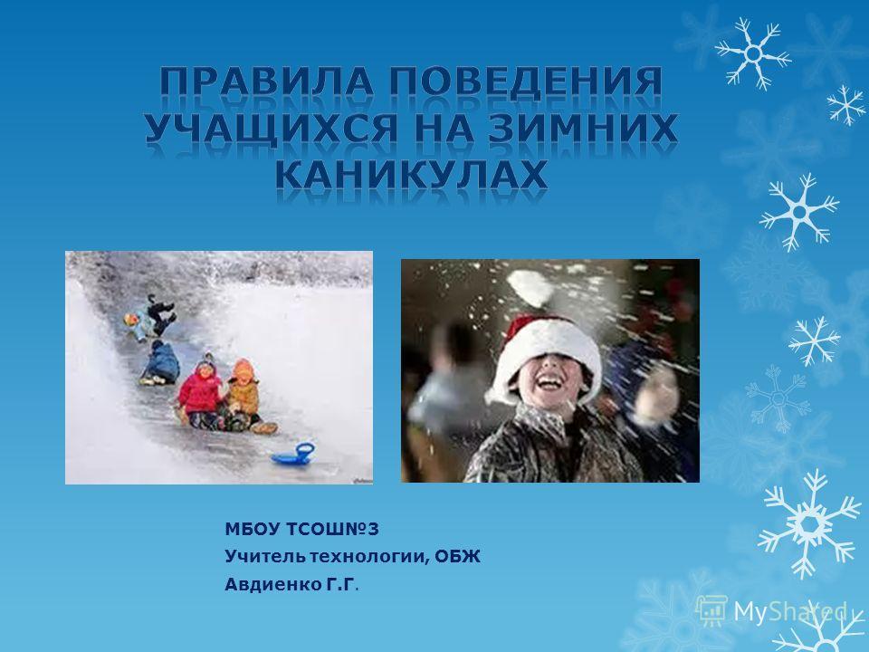 МБОУ ТСОШ3 Учитель технологии, ОБЖ Авдиенко Г.Г.