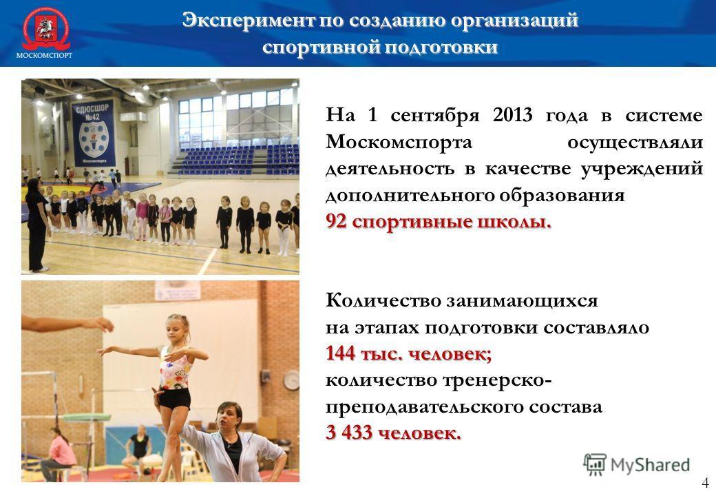 На 1 сентября 2013 года в системе Москомспорта осуществляли деятельность в качестве учреждений дополнительного образования 92 спортивные школы. Количество занимающихся на этапах подготовки составляло 144 тыс. человек 144 тыс. человек; количество трен