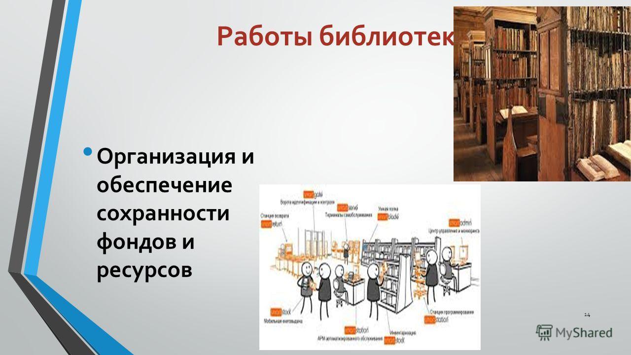 Работы библиотек Организация и обеспечение сохранности фондов и ресурсов 14