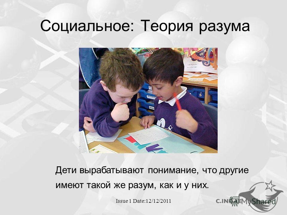 Issue 1 Date:12/12/2011 Социальное: Теория разума Дети вырабатывают понимание, что другие имеют такой же разум, как и у них.