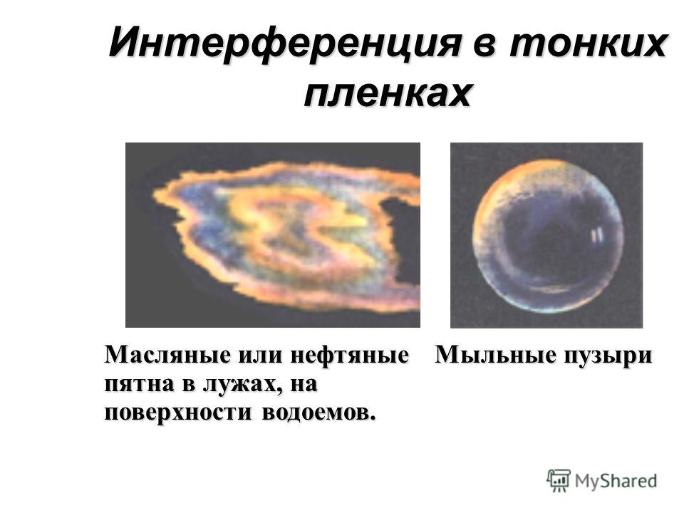 Интерференция в тонких пленках Масляные или нефтяные пятна в лужах, на поверхности водоемов. Мыльные пузыри