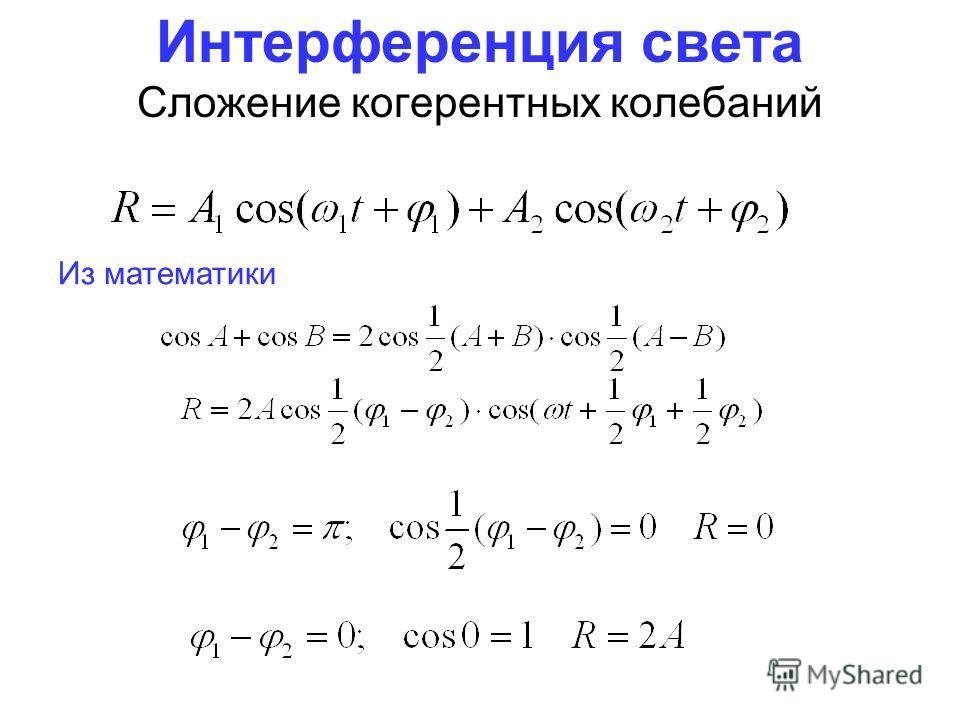 Интерференция света Сложение когерентных колебаний Из математики