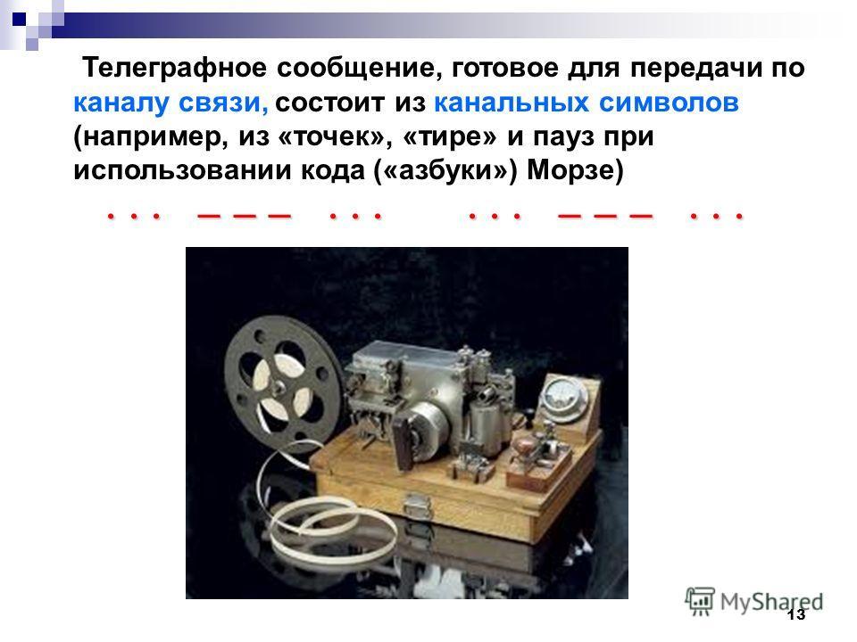 13 Телеграфное сообщение, готовое для передачи по каналу связи, состоит из канальных символов (например, из «точек», «тире» и пауз при использовании кода («азбуки») Морзе)