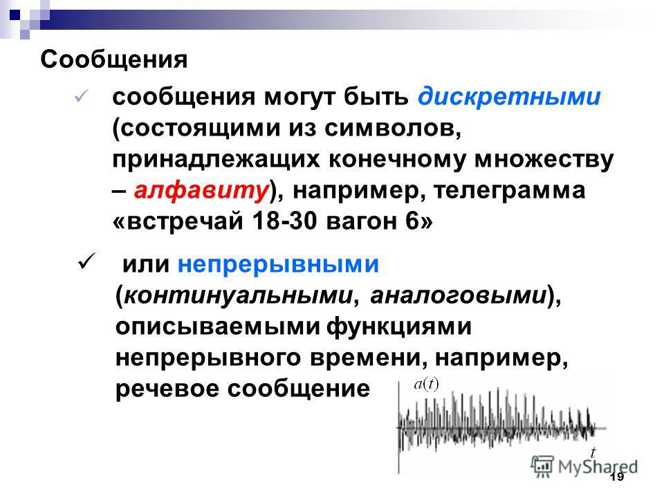 Сообщения сообщения могут быть дискретными (состоящими из символов, принадлежащих конечному множеству – алфавиту), например, телеграмма «встречай 18-30 вагон 6» 19 или непрерывными (континуальными, аналоговыми), описываемыми функциями непрерывного вр