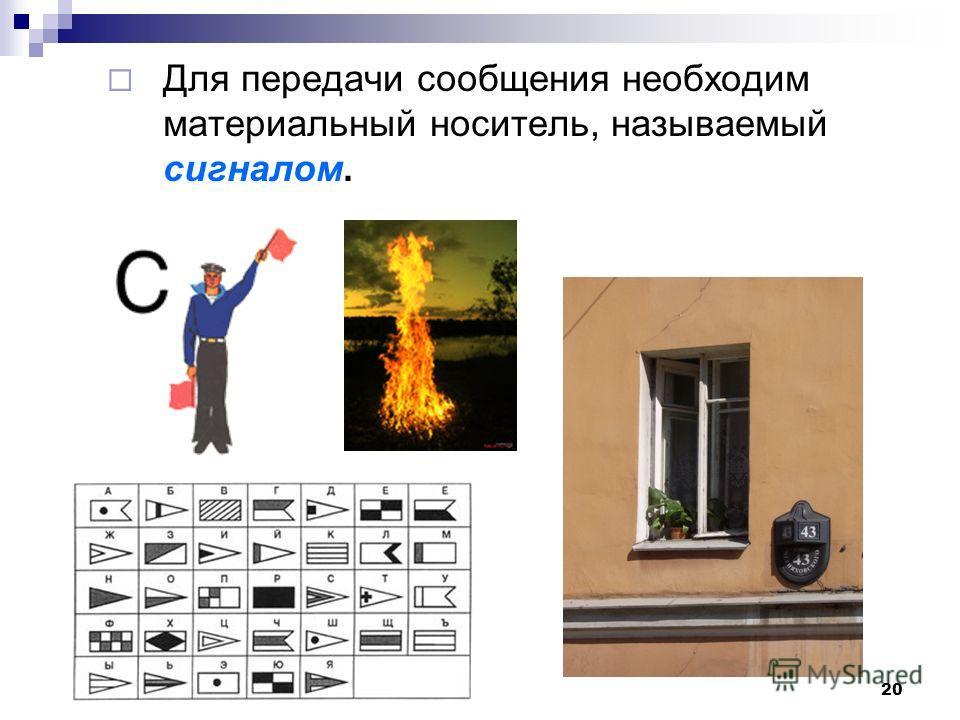 Для передачи сообщения необходим материальный носитель, называемый сигналом. 20