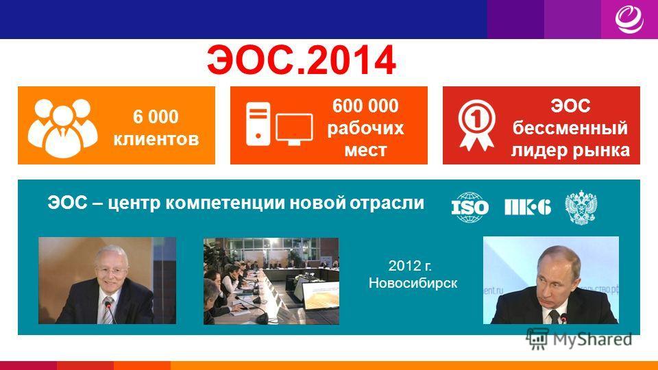 ЭОС.2014 6 000 клиентов 600 000 рабочих мест ЭОС бессменный лидер рынка ЭОС – центр компетенции новой отрасли 2012 г. Новосибирск