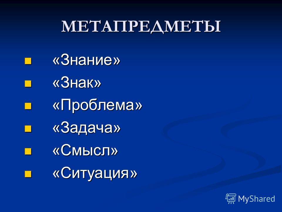 МЕТАПРЕДМЕТЫ «Знание» «Знание» «Знак» «Знак» «Проблема» «Проблема» «Задача» «Задача» «Смысл» «Смысл» «Ситуация» «Ситуация»