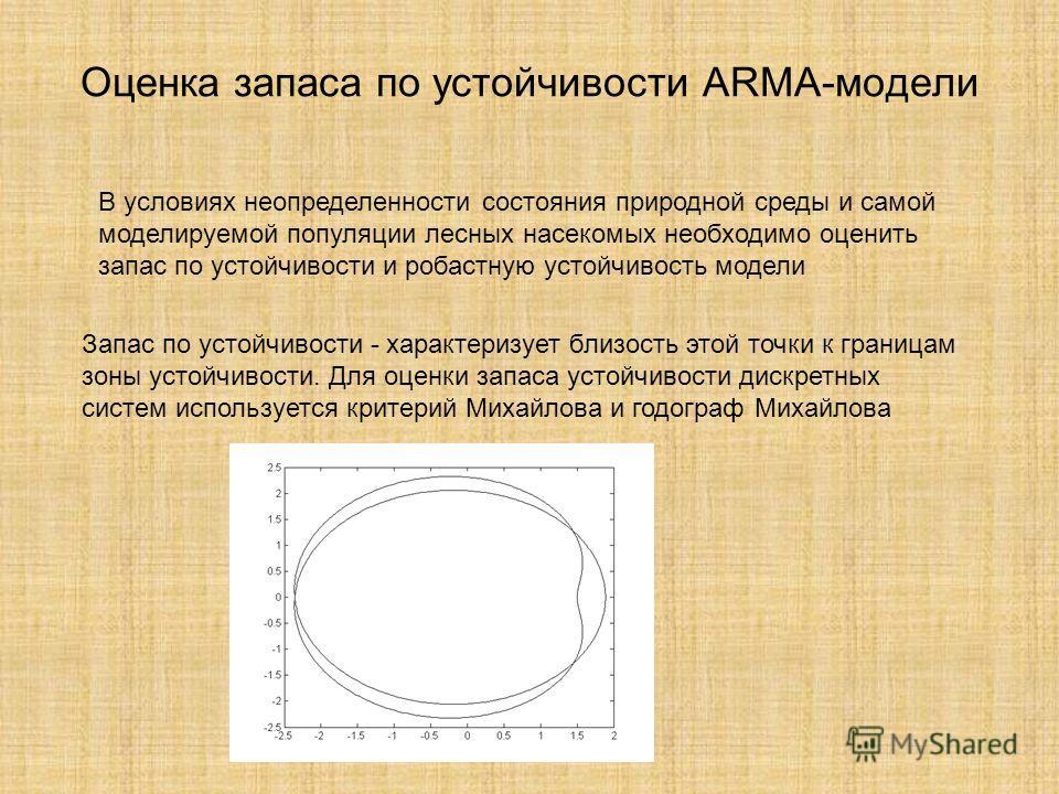 Оценка запаса по устойчивости ARMA-модели В условиях неопределенности состояния природной среды и самой моделируемой популяции лесных насекомых необходимо оценить запас по устойчивости и робастную устойчивость модели Запас по устойчивости - характери