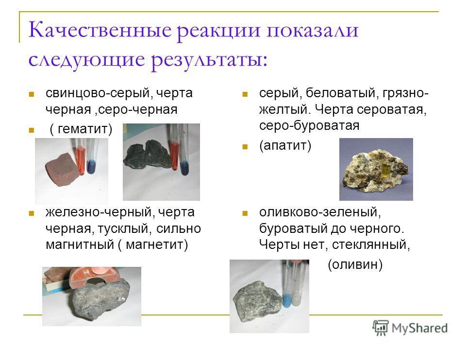 Качественные реакции показали следующие результаты: свинцово-серый, черта черная,серо-черная ( гематит) серый, беловатый, грязно- желтый. Черта сероватая, серо-буроватая (апатит) железно-черный, черта черная, тусклый, сильно магнитный ( магнетит) оли