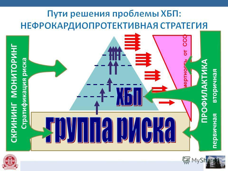 1 стадия 3 стадия 4 стадия 5 стадия = ТПН 2 стадия Смертность от ССО СКРИНИНГ МОНИТОРИНГ Стратификация риска ПРОФИЛАКТИКА первичная вторичная