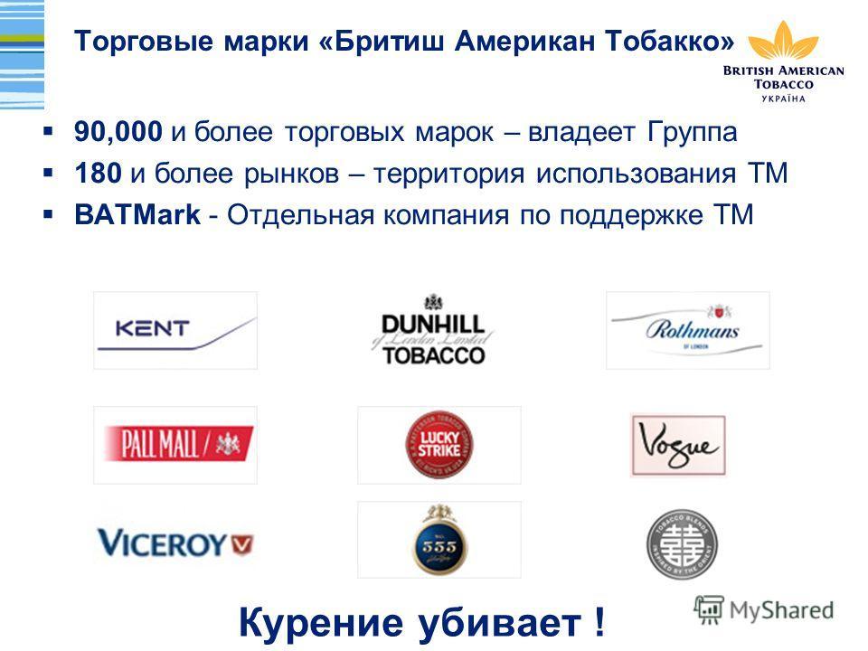 Торговые марки «Бритиш Американ Тобакко» 90,000 и более торговых марок – владеет Группа 180 и более рынков – территория использования ТМ BATMark - Отдельная компания по поддержке ТМ Курение убивает !