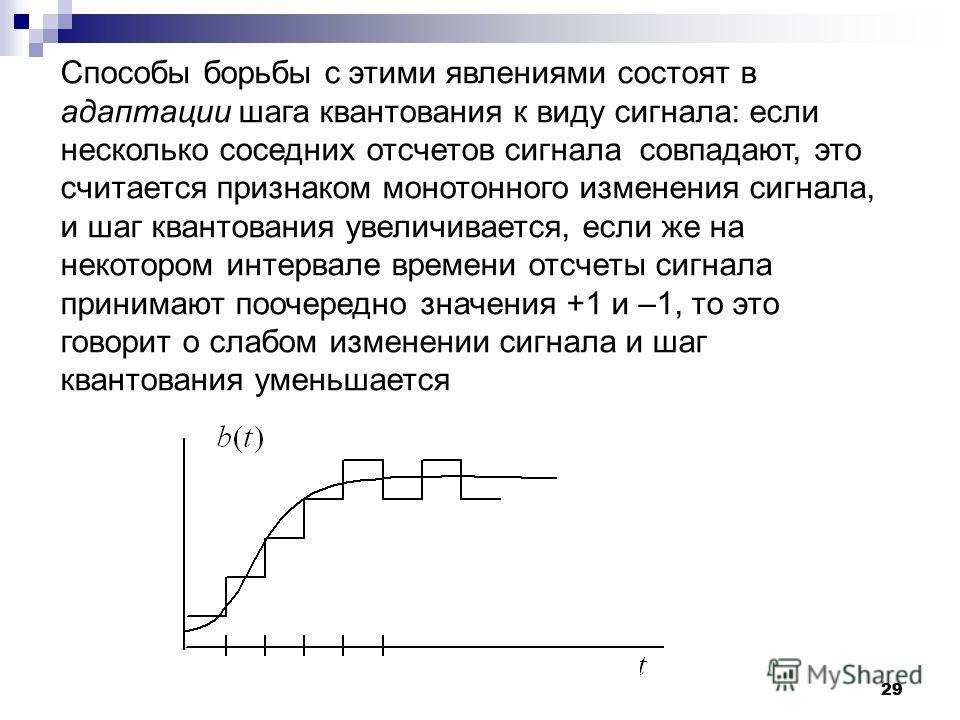 29 Способы борьбы с этими явлениями состоят в адаптации шага квантования к виду сигнала: если несколько соседних отсчетов сигнала совпадают, это считается признаком монотонного изменения сигнала, и шаг квантования увеличивается, если же на некотором