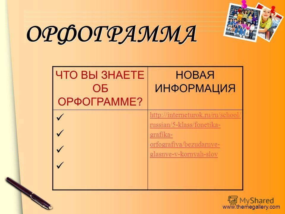 www.themegallery.com ОРФОГРАММА ЧТО ВЫ ЗНАЕТЕ ОБ ОРФОГРАММЕ? НОВАЯ ИНФОРМАЦИЯ http://interneturok.ru/ru/school/ russian/5-klass/fonetika- grafika- orfografiya/bezudarnye- glasnye-v-kornyah-slov