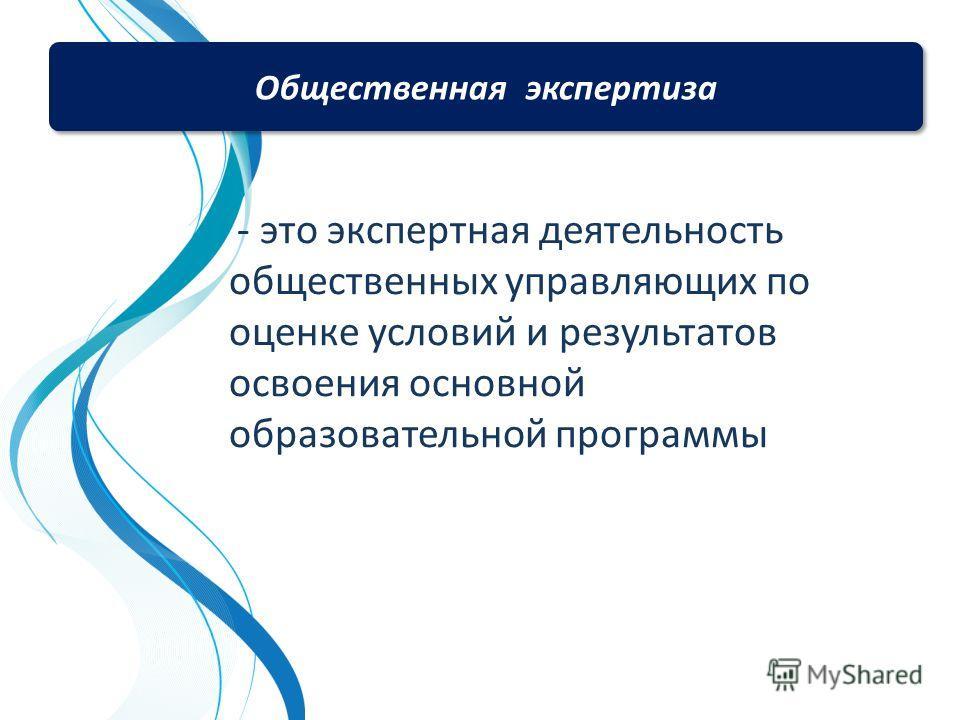 - это экспертная деятельность общественных управляющих по оценке условий и результатов освоения основной образовательной программы Общественная экспертиза