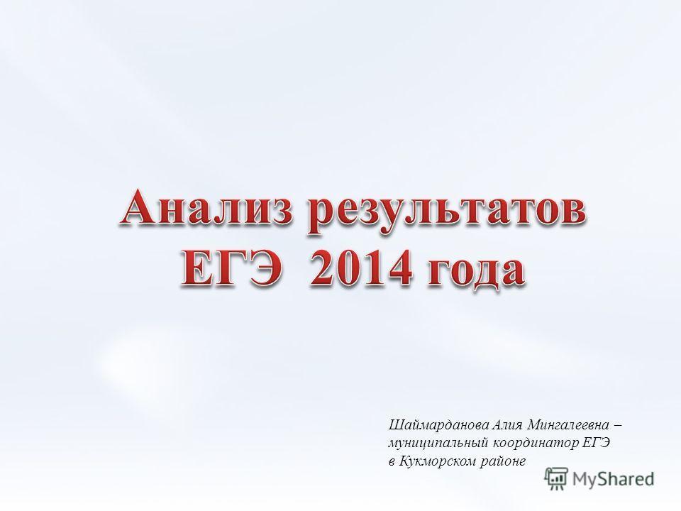 Шаймарданова Алия Мингалеевна – муниципальный координатор ЕГЭ в Кукморском районе