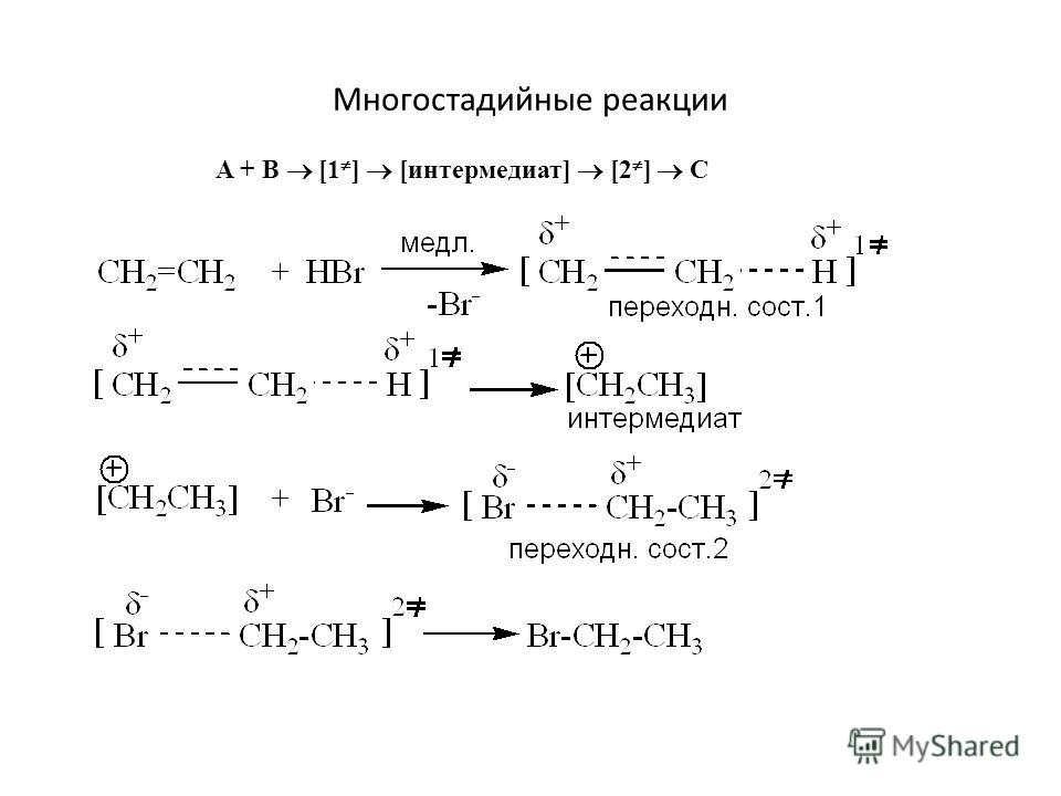 Многостадийные реакции A + B [1 ] [интермедиат] [2 ] С