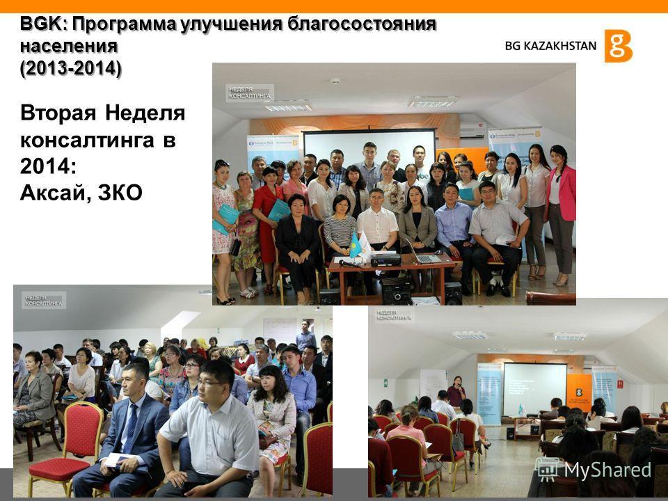 Вторая Неделя консалтинга в 2014: Аксай, ЗКО BGK: Программа улучшения благосостояния населения (2013-2014)