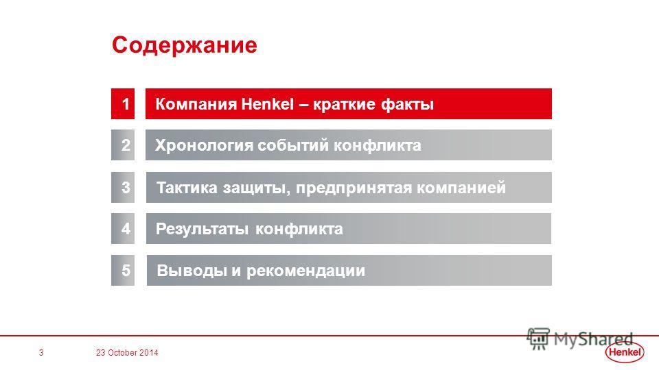 3 Содержание Хронология событий конфликта 2 Компания Henkel – краткие факты 1 Результаты конфликта 3 Тактика защиты, предпринятая компанией 4 Выводы и рекомендации 5 23 October 2014