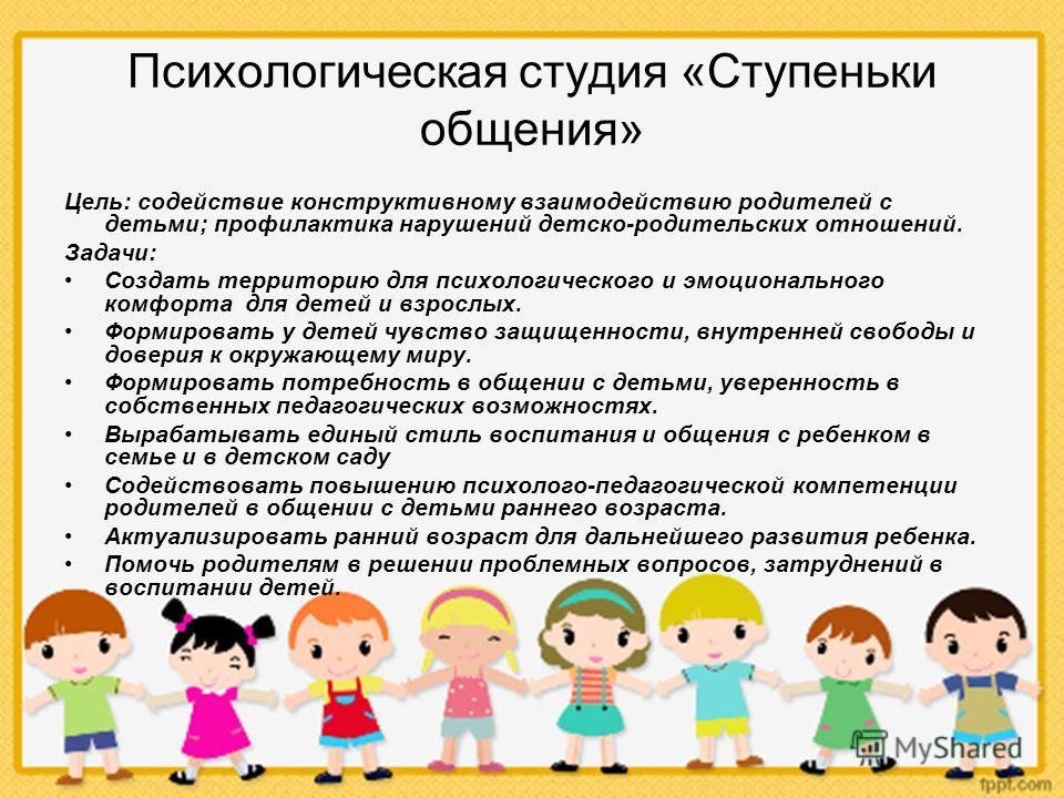 Психологическая студия «Ступеньки общения» Цель: содействие конструктивному взаимодействию родителей с детьми; профилактика нарушений детско-родительских отношений. Задачи: Создать территорию для психологического и эмоционального комфорта для детей и