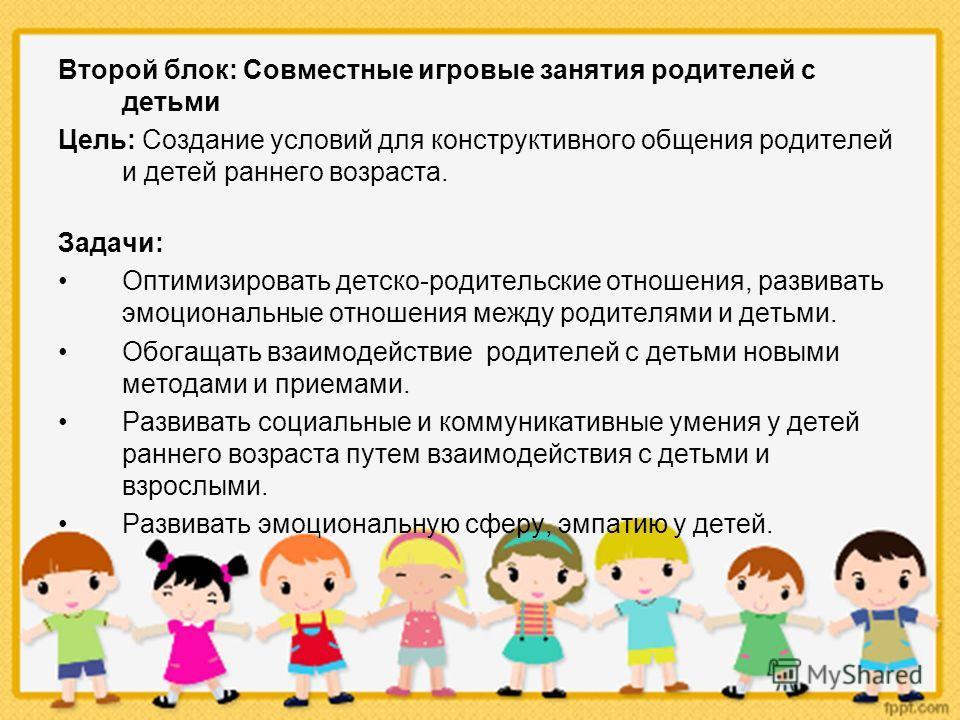 Второй блок: Совместные игровые занятия родителей с детьми Цель: Создание условий для конструктивного общения родителей и детей раннего возраста. Задачи: Оптимизировать детско-родительские отношения, развивать эмоциональные отношения между родителями