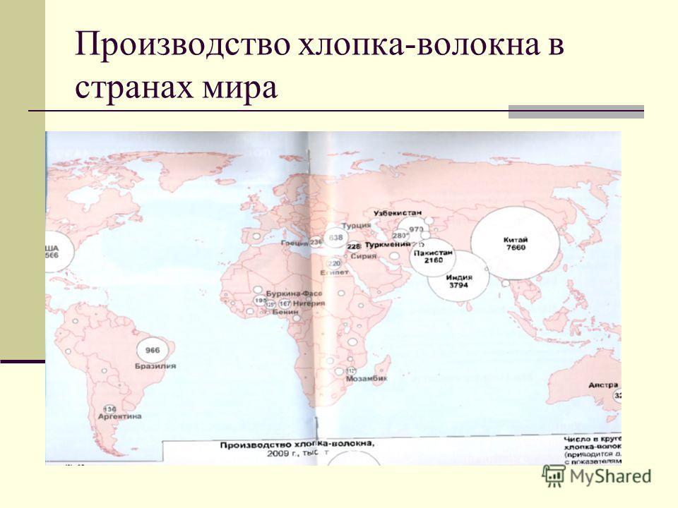 Производство хлопка-волокна в странах мира