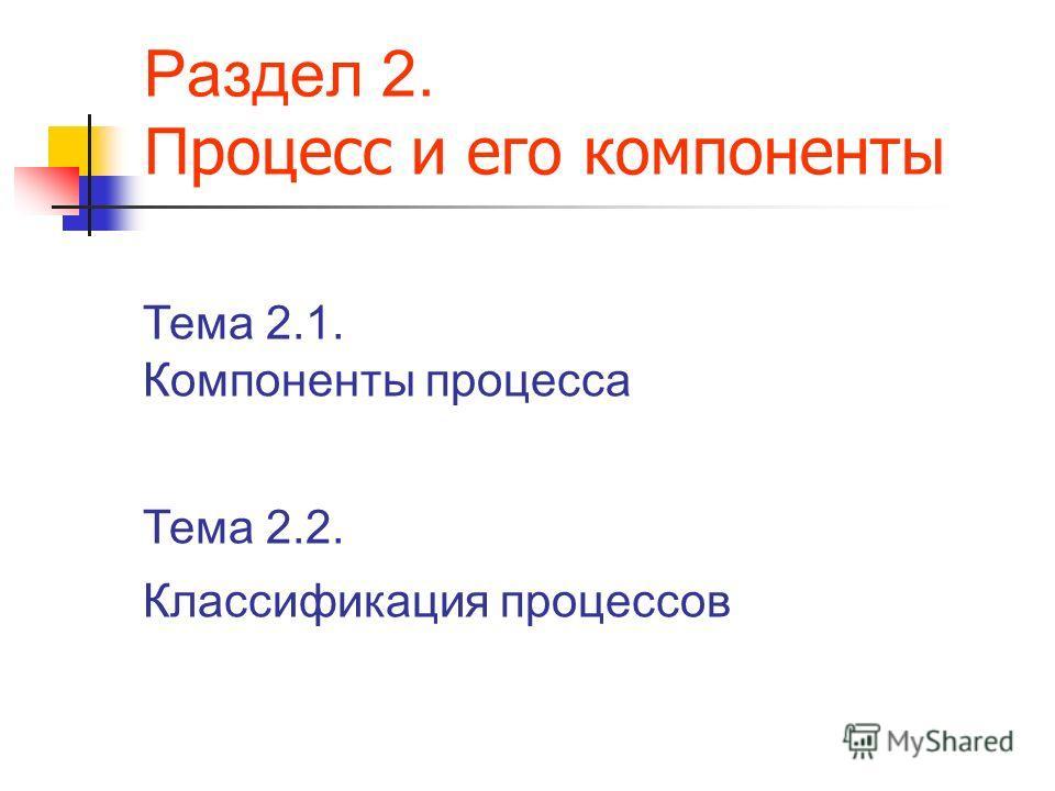 Раздел 2. П роцесс и его компоненты Тема 2.1. Компоненты процесса Тема 2.2. Классификация процессов