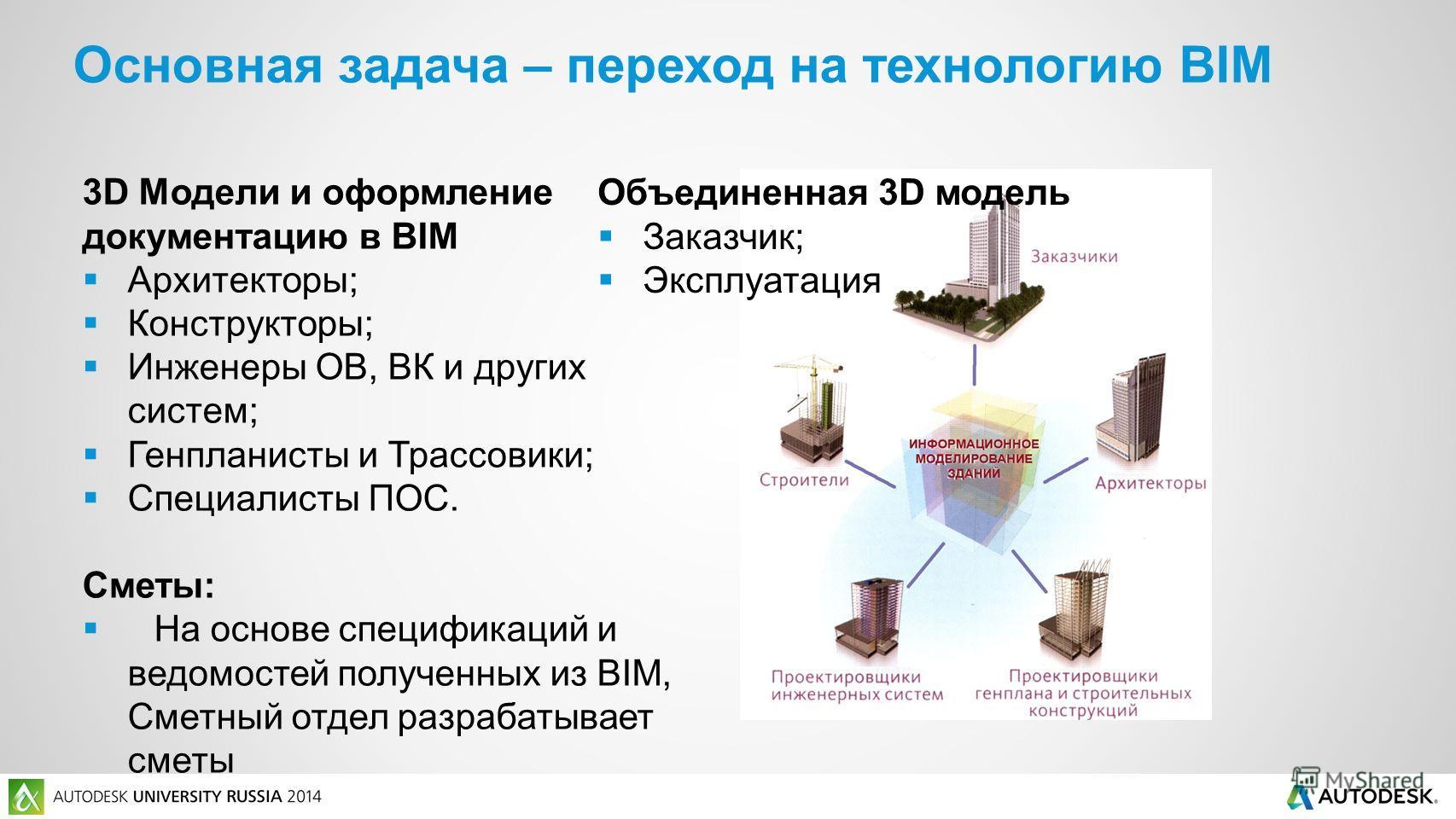 3D Модели и оформление документацию в BIM Архитекторы; Конструкторы; Инженеры ОВ, ВК и других систем; Генпланисты и Трассовики; Специалисты ПОС. Сметы: На основе спецификаций и ведомостей полученных из BIM, Сметный отдел разрабатывает сметы Объединен