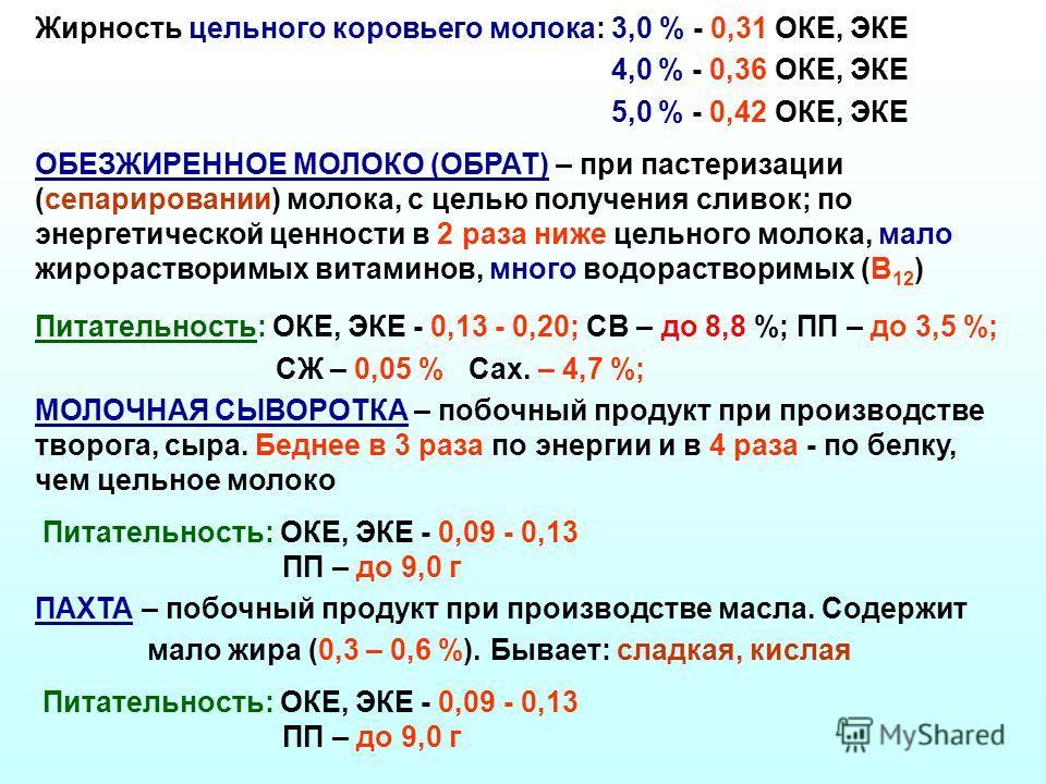 Жирность цельного коровьего молока: 3,0 % - 0,31 ОКЕ, ЭКЕ 4,0 % - 0,36 ОКЕ, ЭКЕ 5,0 % - 0,42 ОКЕ, ЭКЕ ОБЕЗЖИРЕННОЕ МОЛОКО (ОБРАТ) – при пастеризации (сепарировании) молока, с целью получения сливок; по энергетической ценности в 2 раза ниже цельного м