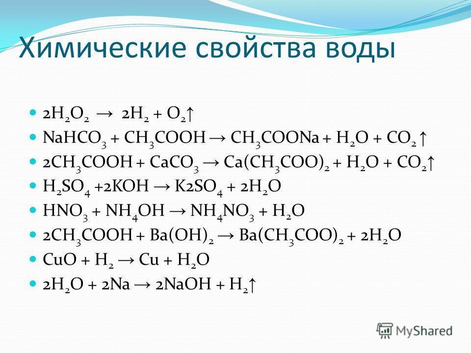 Химические свойства воды 2H 2 O 2 2H 2 + O 2 NaHCO 3 + CH 3 COOH CH 3 COONa + H 2 O + CO 2 2CH 3 COOH + CaCO 3 Ca(CH 3 COO) 2 + H 2 O + CO 2 H 2 SO 4 +2KOH K2SO 4 + 2H 2 O HNO 3 + NH 4 OH NH 4 NO 3 + H 2 O 2CH 3 COOH + Ba(OH) 2 Ba(CH 3 COO) 2 + 2H 2