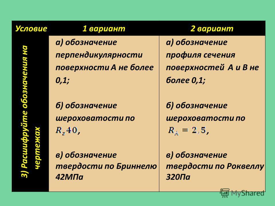 Условие 1 вариант 2 вариант 3) Расшифруйте обозначения на чертежах а) обозначение перпендикулярности поверхности А не более 0,1; б) обозначение шероховатости по, в) обозначение твердости по Бриннелю 42МПа а) обозначение профиля сечения поверхностей А