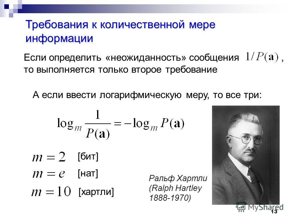 13 Требования к количественной мере информации Если определить «неожиданность» сообщения, то выполняется только второе требование А если ввести логарифмическую меру, то все три: [бит] [нат] [хартли] Ральф Хартли (Ralph Hartley 1888-1970)