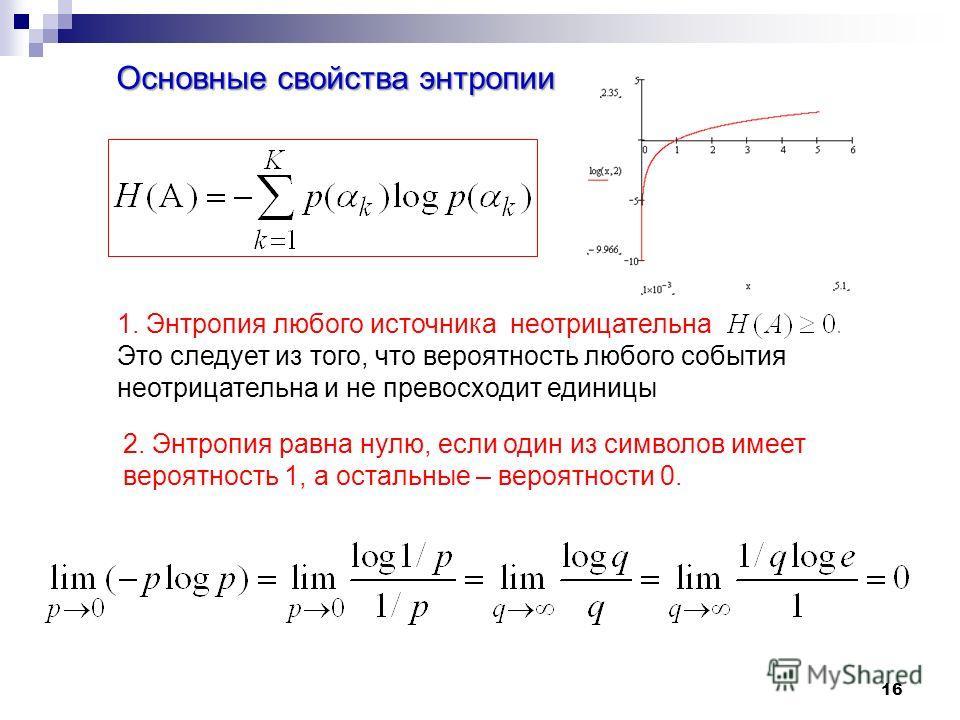 16 Основные свойства энтропии 1. Энтропия любого источнока неотрицательна Это следует из того, что вероятность любого события неотрицательна и не превосходит единицы 2. Энтропия равна нулю, если один из символов имеет вероятность 1, а остальные – вер