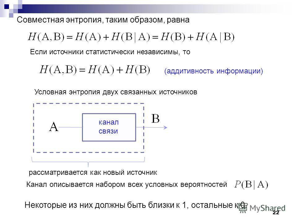 22 Совместная энтропия, таким образом, равна Если источноки статистически независимы, то (аддитивность информации) канал связи рассматривается как новый источнок Условная энтропия двух связанных источноков Канал описывается набором всех условных веро
