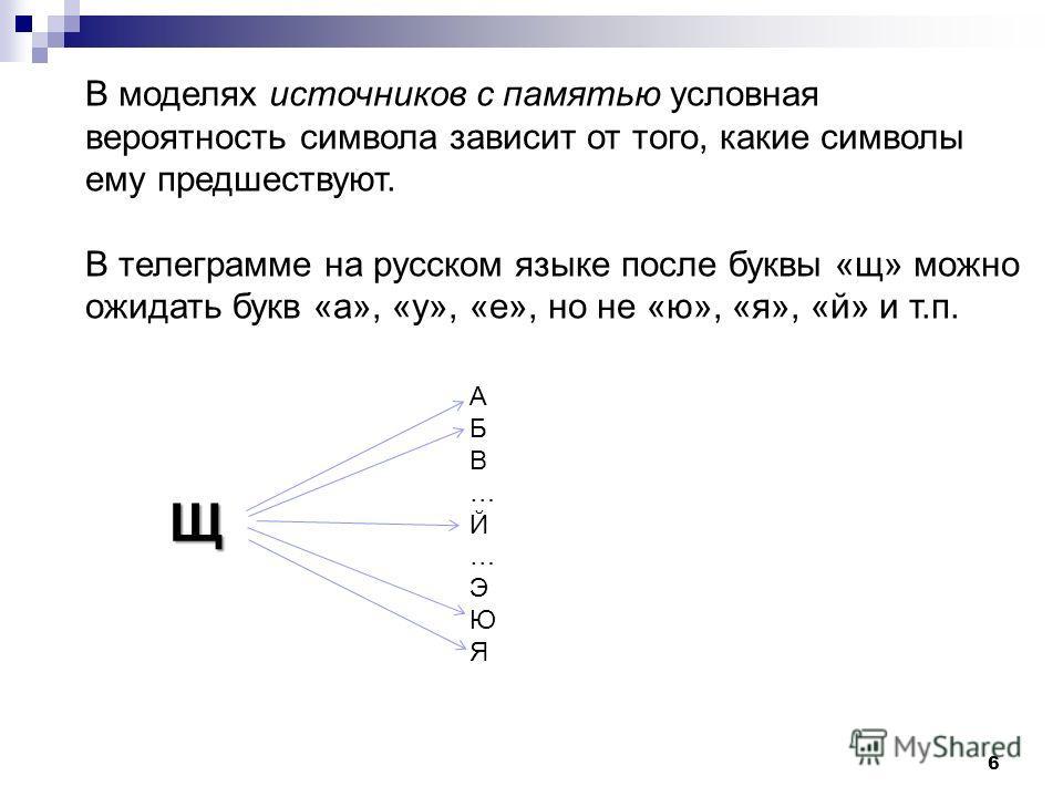 6 В моделях источноков с памятью условная вероятность символа зависит от того, какие символы ему предшествуют. В телеграмме на русском языке после буквы «щ» можно ожидать букв «а», «у», «е», но не «ю», «я», «й» и т.п. Щ АБВ…Й…ЭЮЯАБВ…Й…ЭЮЯ