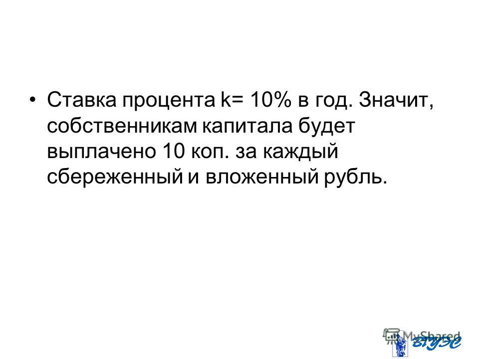 Ставка процента k= 10% в год. Значит, собственникам капитала будет выплачено 10 коп. за каждый сбереженный и вложенный рубль.
