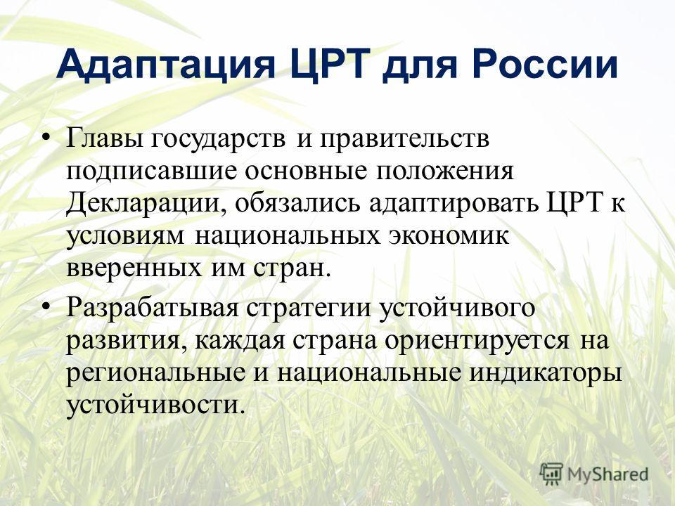 Адаптация ЦРТ для России Главы государств и правительств подписавшие основные положения Декларации, обязались адаптировать ЦРТ к условиям национальных экономик вверенных им стран. Разрабатывая стратегии устойчивого развития, каждая страна ориентирует