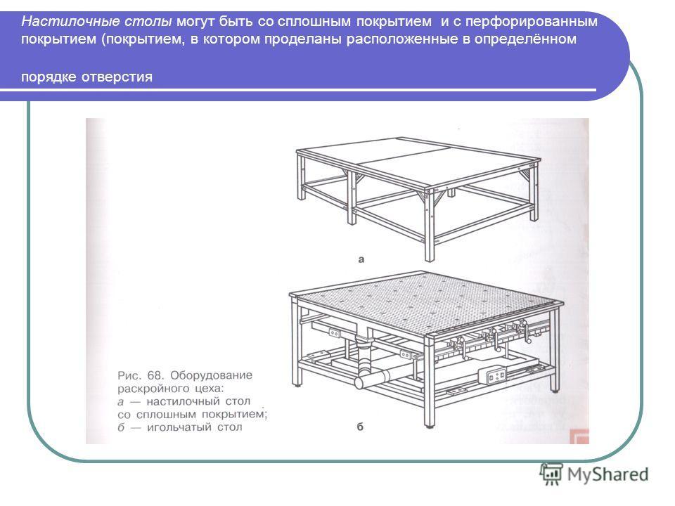 Настилочные столы могут быть со сплошным покрытием и с перфорированным покрытием (покрытием, в котором проделаны расположенные в определённом порядке отверстия