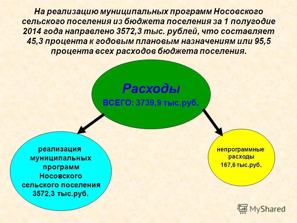 На реализацию муниципальных программ Носовского сельского поселения из бюджета поселения за 1 полугодие 2014 года направлено 3572,3 тыс. рублей, что составляет 45,3 процента к годовым плановым назначениям или 95,5 процента всех расходов бюджета посел