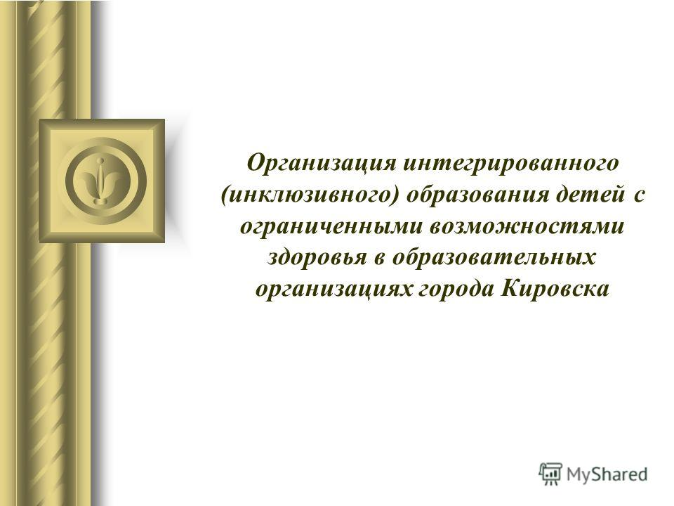 Организация интегрированного (инклюзивного) образования детей с ограниченными возможностями здоровья в образовательных организациях города Кировска