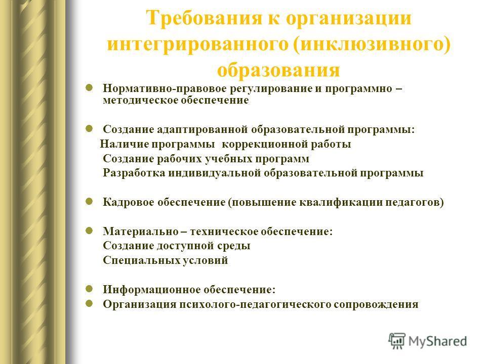 Требования к организации интегрированного (инклюзивного) образования Нормативно-правовое регулирование и программно – методическое обеспечение Создание адаптированной образовательной программы: Наличие программы коррекционной работы Создание рабочих