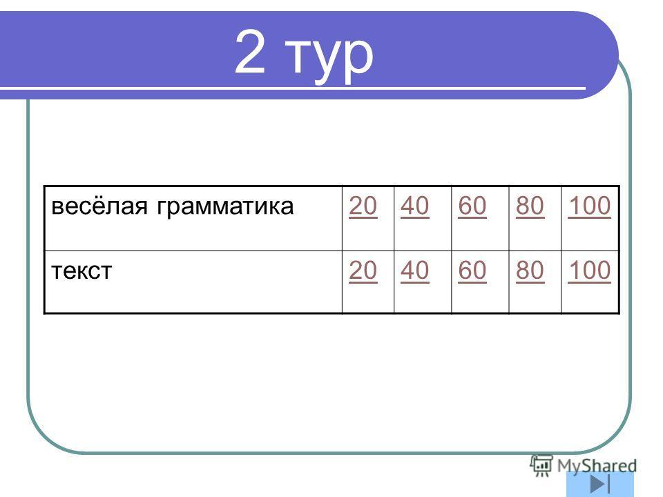 2 тур весёлая грамматика 20406080100 текст 20406080100
