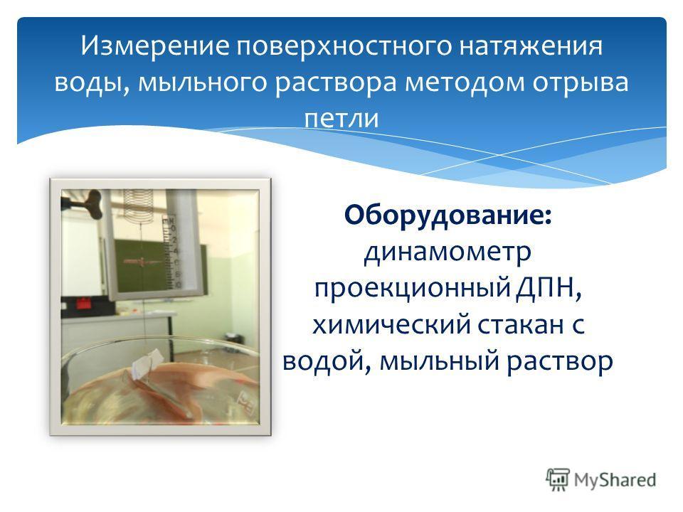 Измерение поверхностного натяжения воды, мыльного раствора методом отрыва петли Оборудование: динамометр проекционный ДПН, химический стакан с водой, мыльный раствор