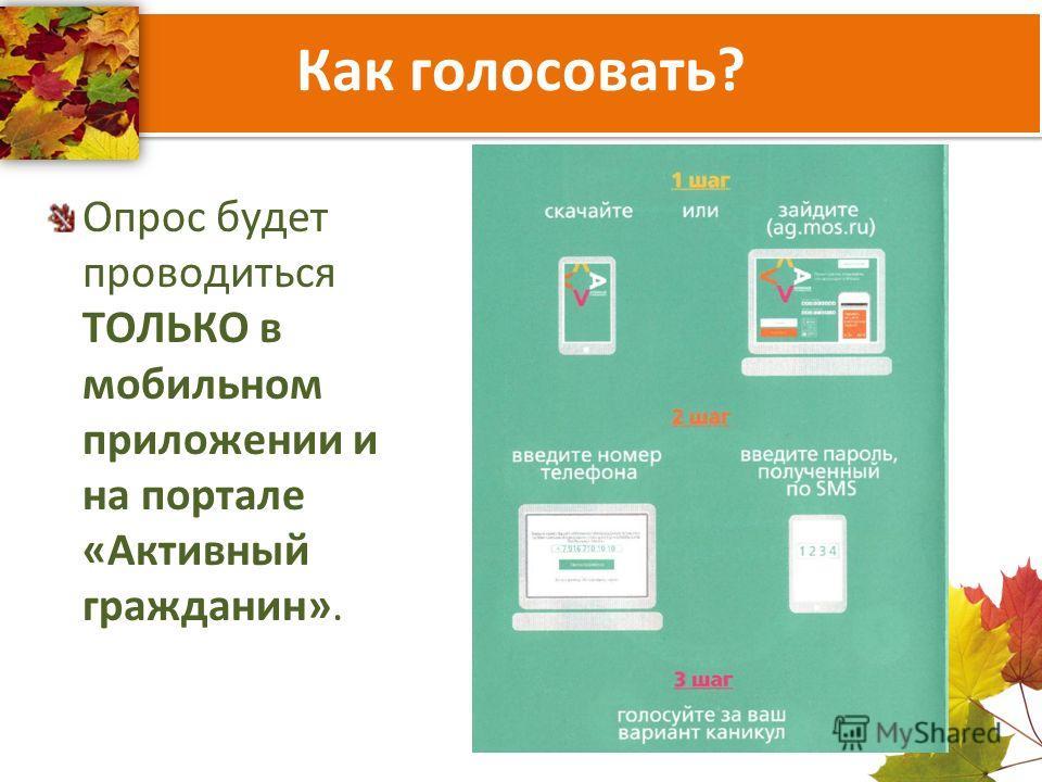 Как голосовать? Опрос будет проводиться ТОЛЬКО в мобильном приложении и на портале «Активный гражданин».