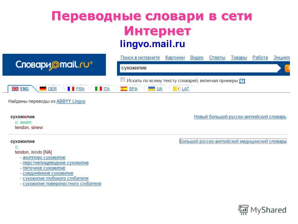 Переводные словари в сети Интернет lingvo.mail.ru