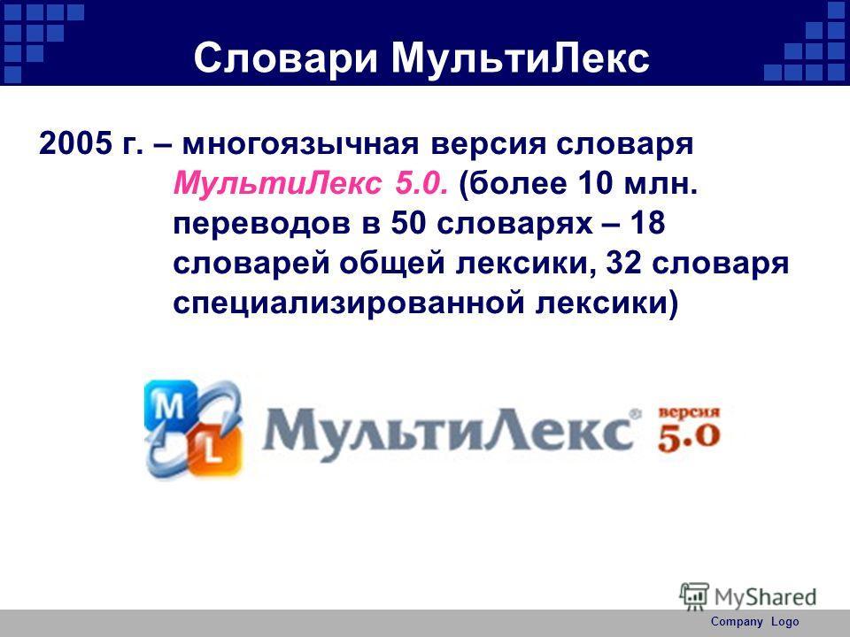 Company Logo Словари Мульти Лекс 2005 г. – многоязычная версия словаря Мульти Лекс 5.0. (более 10 млн. переводов в 50 словарях – 18 словарей общей лексики, 32 словаря специализированной лексики)