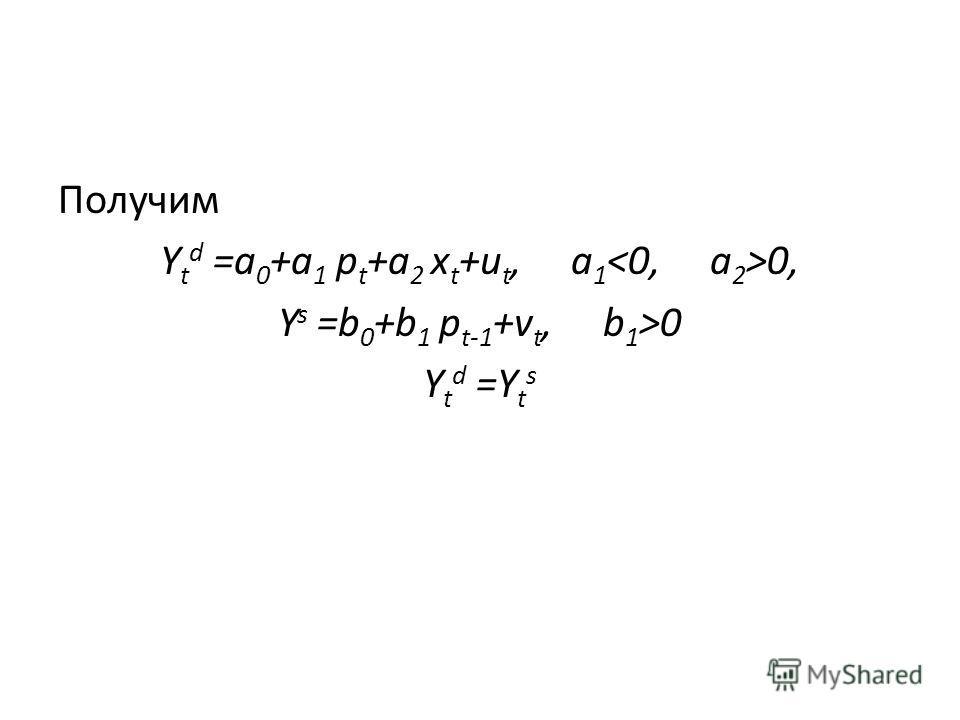 Получим Y t d =a 0 +a 1 p t +a 2 x t +u t, a 1 0, Y s =b 0 +b 1 p t-1 +v t, b 1 >0 Y t d =Y t s