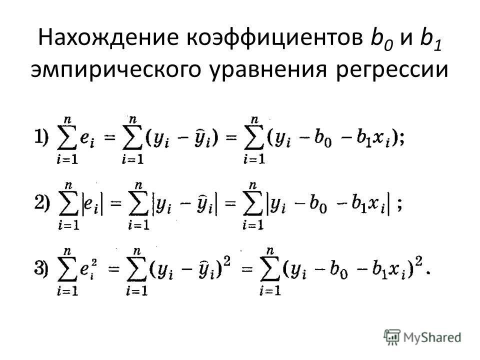 Нахождение коэффициентов b 0 и b 1 эмпирического уравнения регрессии